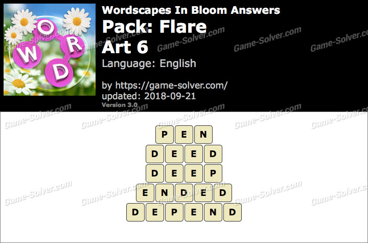 Wordscapes In Bloom Flare-Art 6 Answers