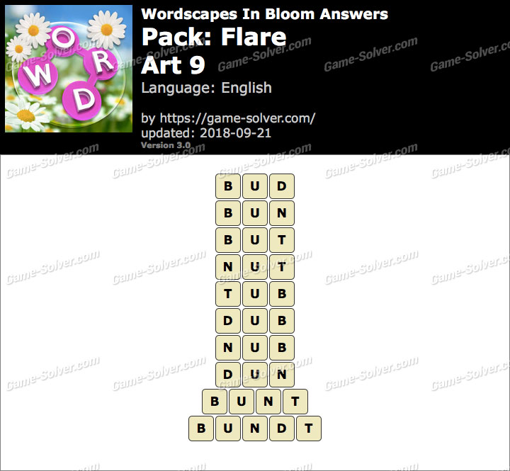Wordscapes In Bloom Flare-Art 9 Answers