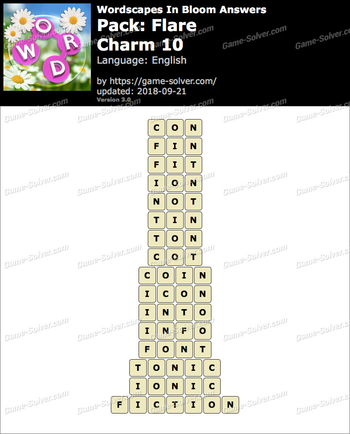 Wordscapes In Bloom Flare-Charm 10 Answers