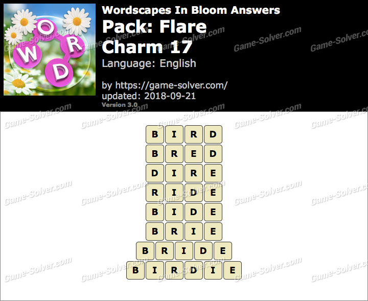 Wordscapes In Bloom Flare-Charm 17 Answers