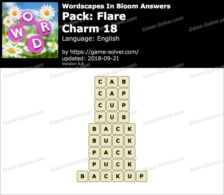 Wordscapes In Bloom Flare-Charm 18 Answers