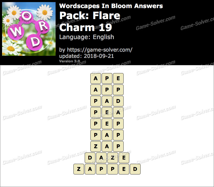 Wordscapes In Bloom Flare-Charm 19 Answers