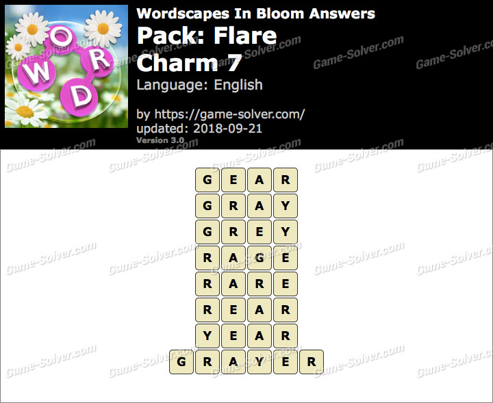 Wordscapes In Bloom Flare-Charm 7 Answers