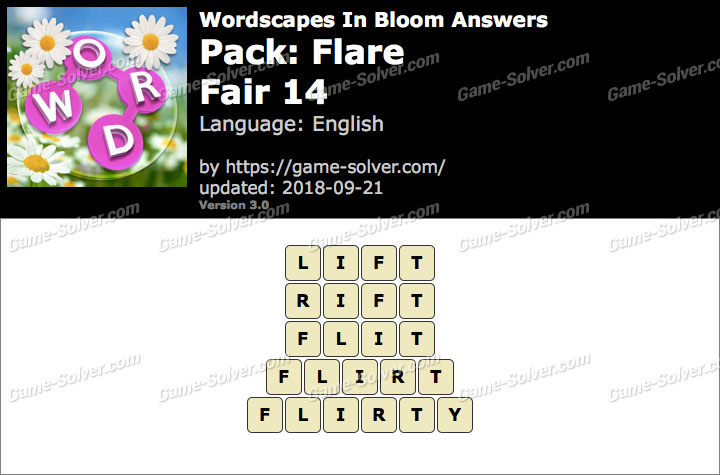 Wordscapes In Bloom Flare-Fair 14 Answers