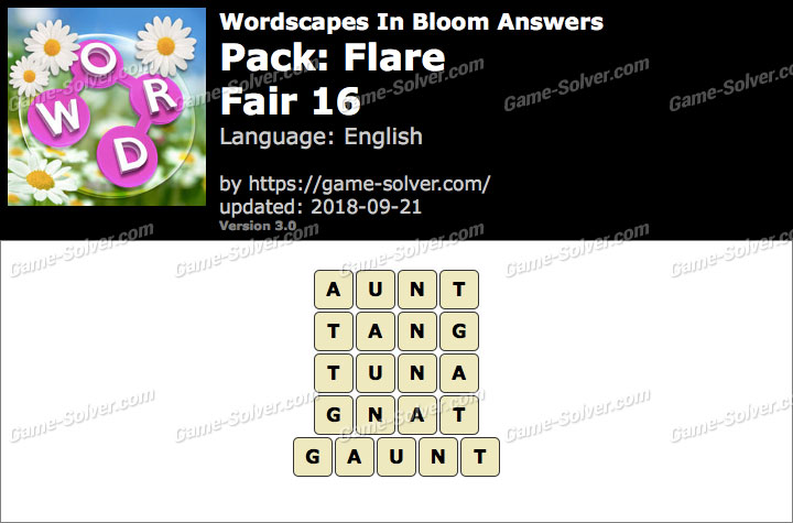 Wordscapes In Bloom Flare-Fair 16 Answers