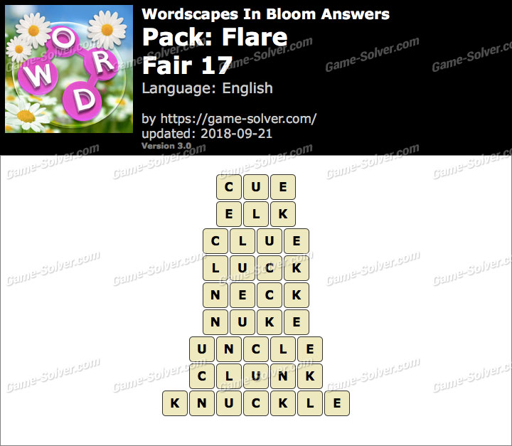 Wordscapes In Bloom Flare-Fair 17 Answers