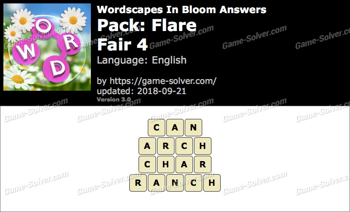 Wordscapes In Bloom Flare-Fair 4 Answers