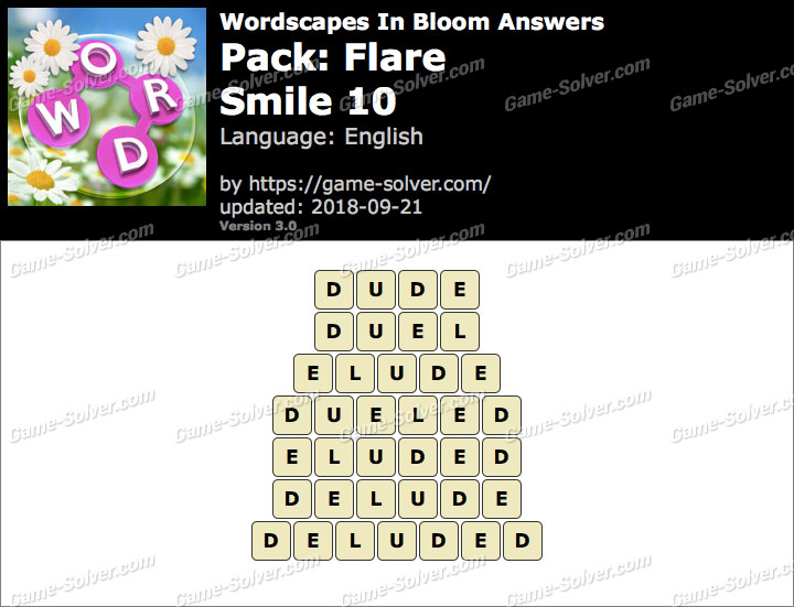 Wordscapes In Bloom Flare-Smile 10 Answers