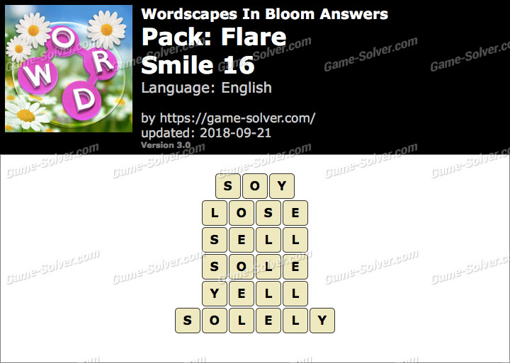Wordscapes In Bloom Flare-Smile 16 Answers