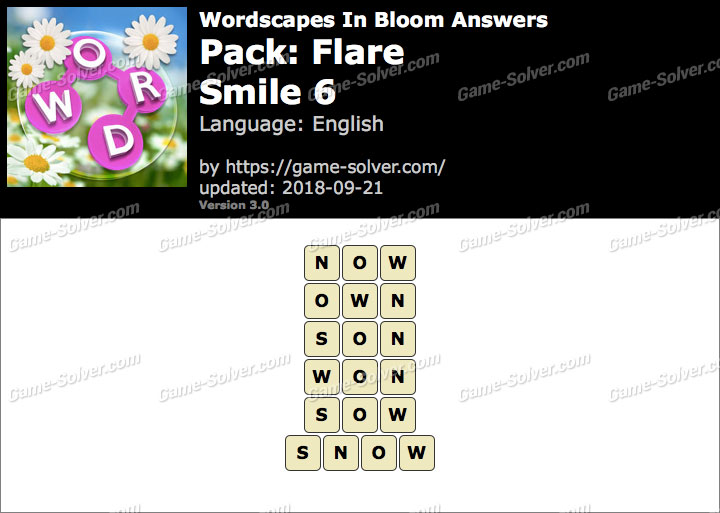Wordscapes In Bloom Flare-Smile 6 Answers