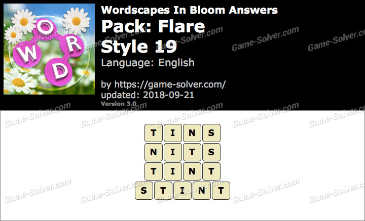 Wordscapes In Bloom Flare-Style 19 Answers
