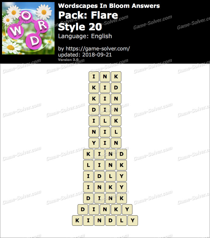 Wordscapes In Bloom Flare-Style 20 Answers