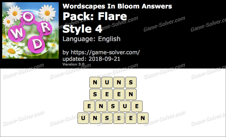 Wordscapes In Bloom Flare-Style 4 Answers