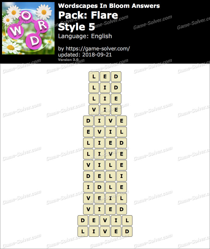 Wordscapes In Bloom Flare-Style 5 Answers
