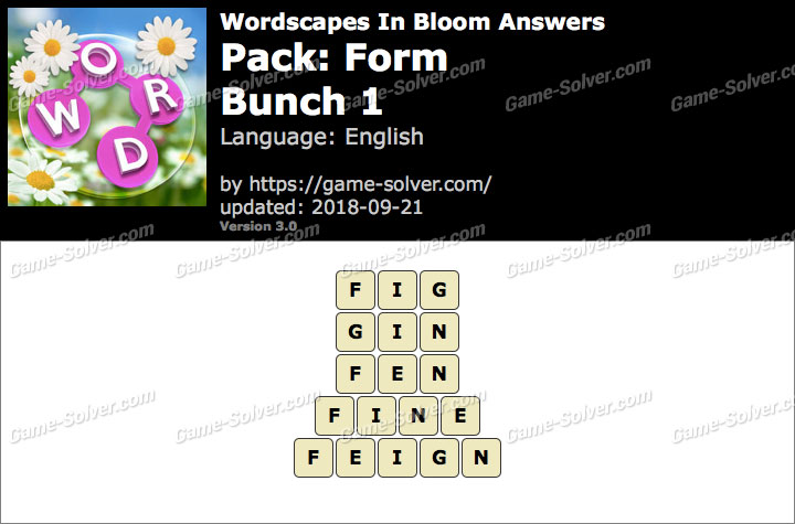 Wordscapes In Bloom Form-Bunch 1 Answers