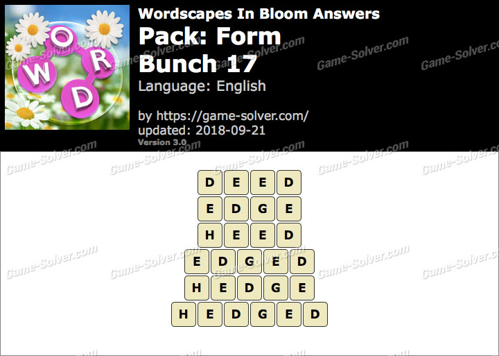 Wordscapes In Bloom Form-Bunch 17 Answers