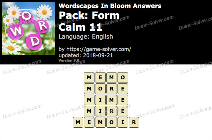 Wordscapes In Bloom Form-Calm 11 Answers