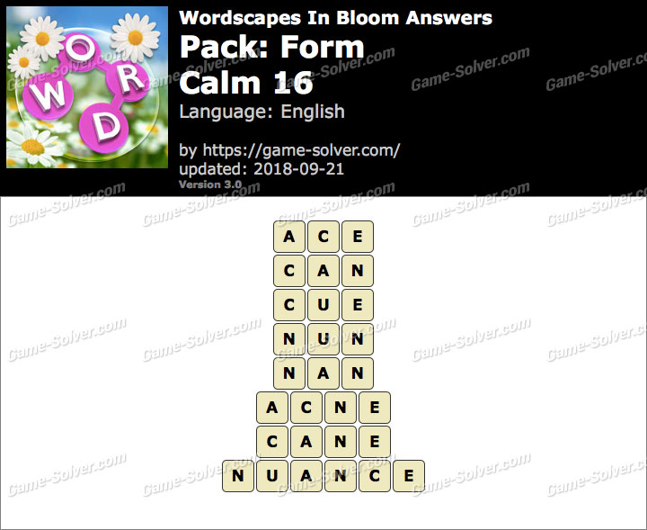 Wordscapes In Bloom Form-Calm 16 Answers