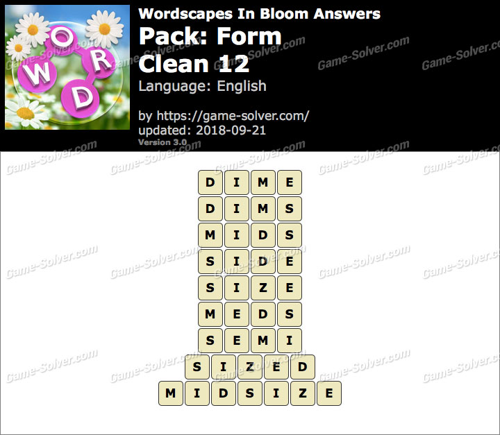 Wordscapes In Bloom Form-Clean 12 Answers