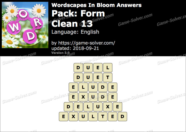 Wordscapes In Bloom Form-Clean 13 Answers