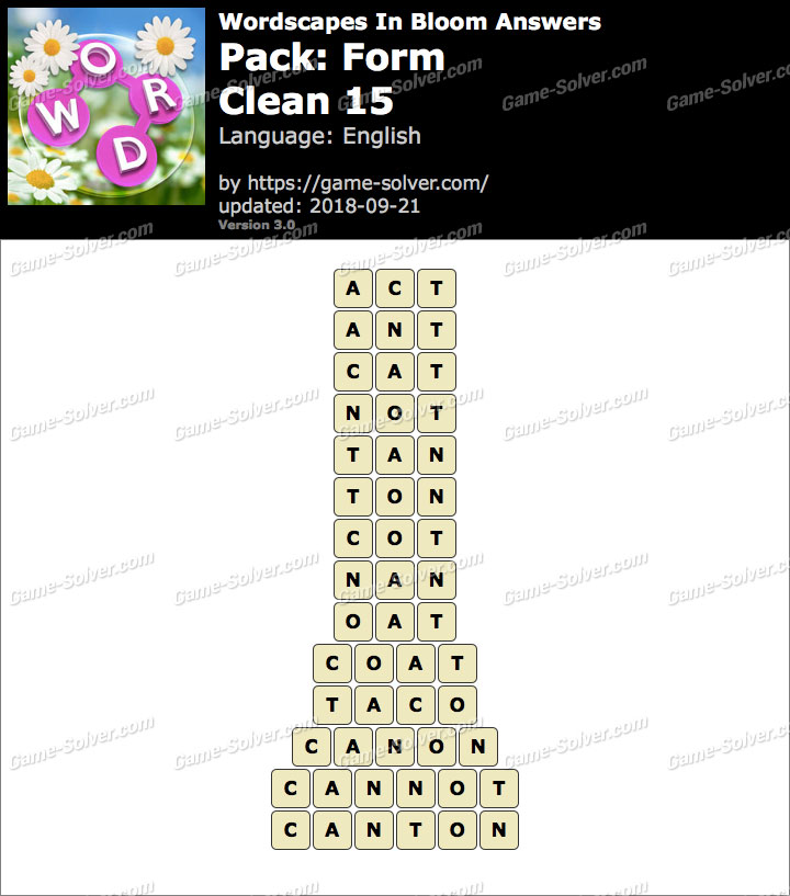 Wordscapes In Bloom Form-Clean 15 Answers