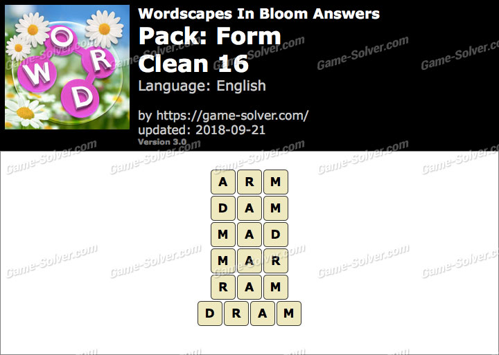 Wordscapes In Bloom Form-Clean 16 Answers