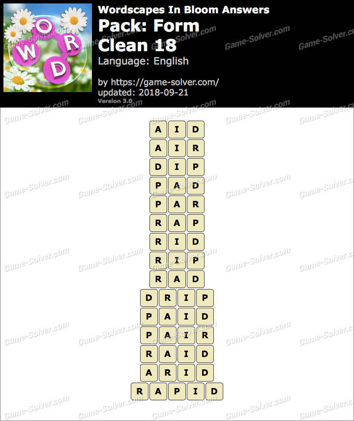Wordscapes In Bloom Form-Clean 18 Answers