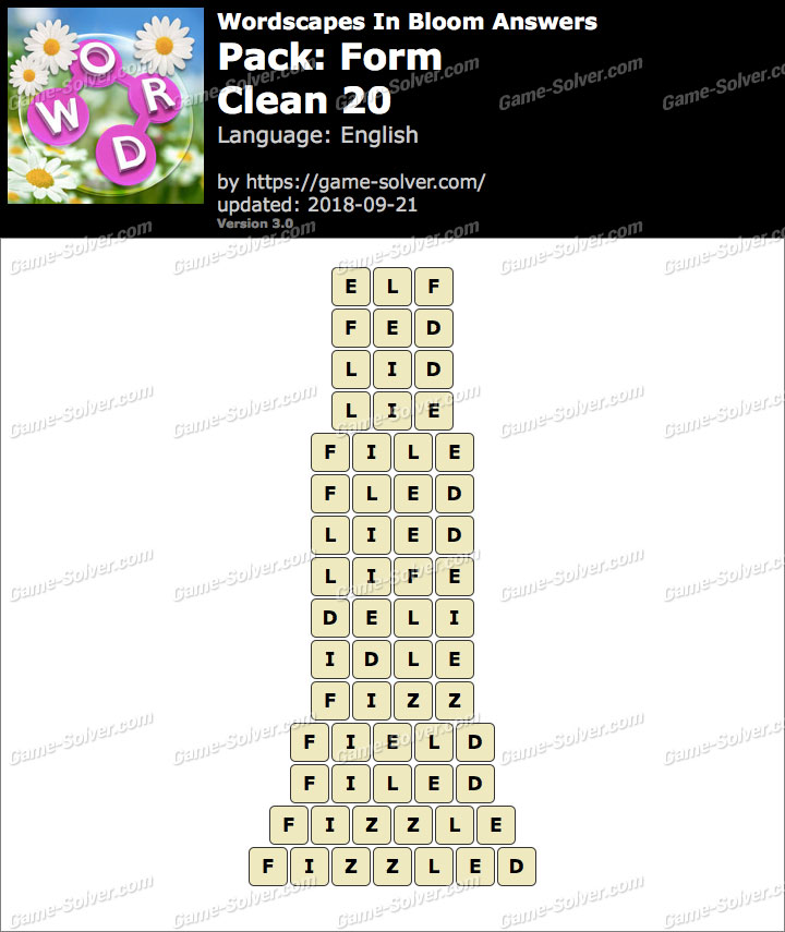 Wordscapes In Bloom Form-Clean 20 Answers