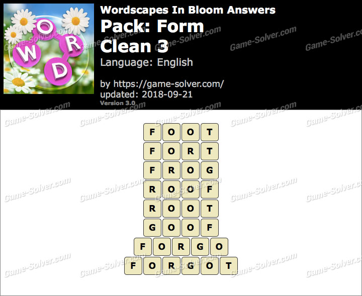 Wordscapes In Bloom Form-Clean 3 Answers