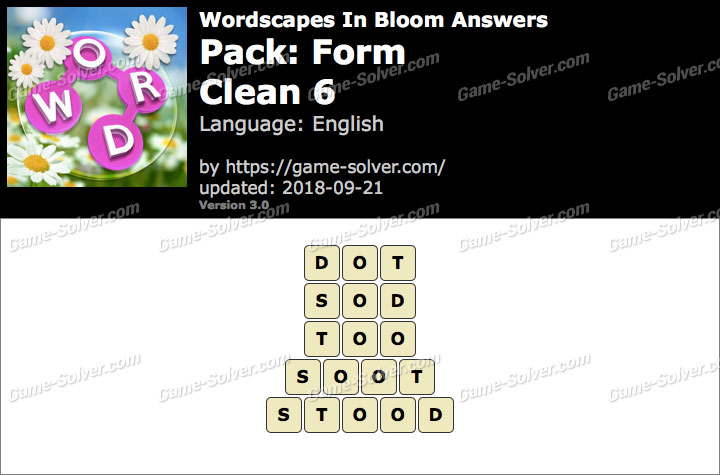 Wordscapes In Bloom Form-Clean 6 Answers