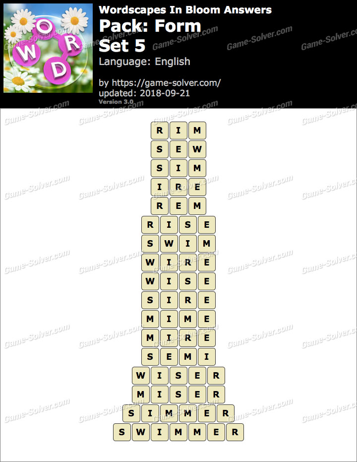 Wordscapes In Bloom Form-Set 5 Answers