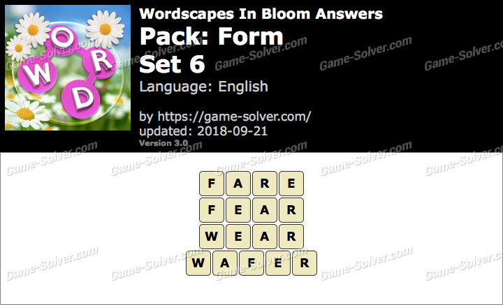 Wordscapes In Bloom Form-Set 6 Answers