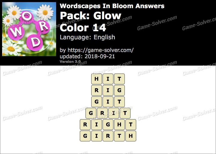 Wordscapes In Bloom Glow-Color 14 Answers