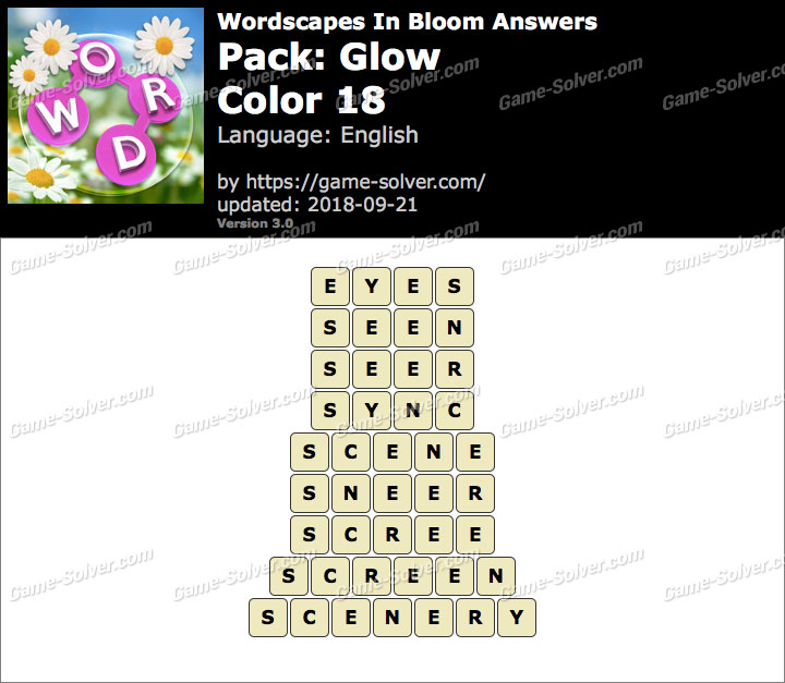 Wordscapes In Bloom Glow-Color 18 Answers