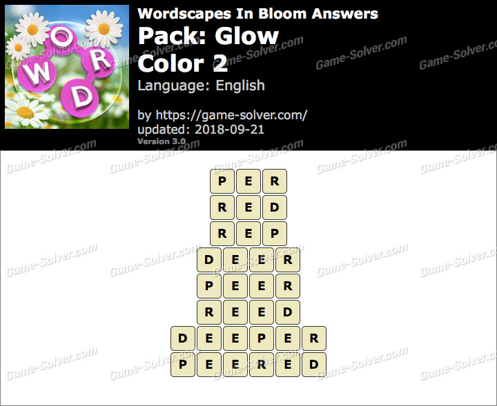 Wordscapes In Bloom Glow-Color 2 Answers
