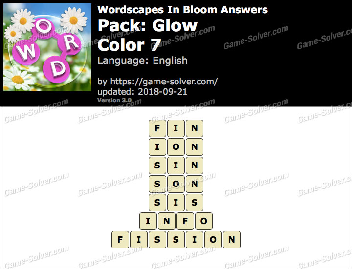 Wordscapes In Bloom Glow-Color 7 Answers