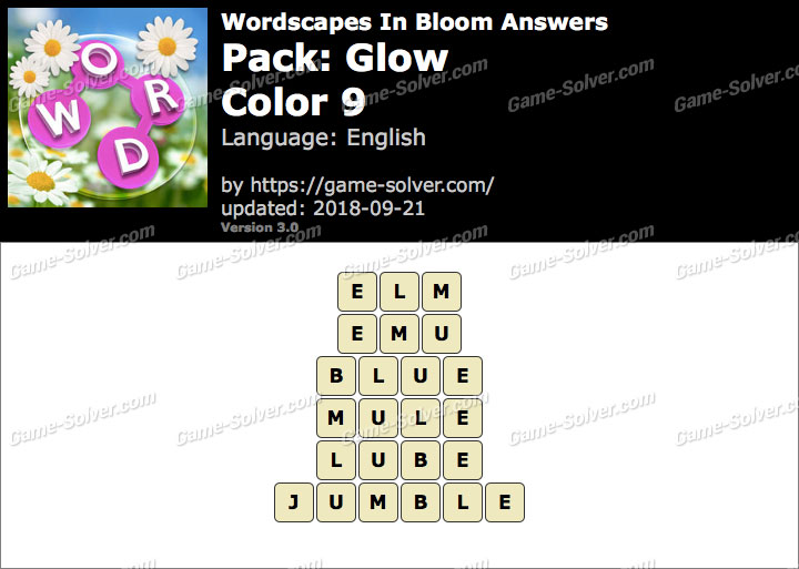 Wordscapes In Bloom Glow-Color 9 Answers