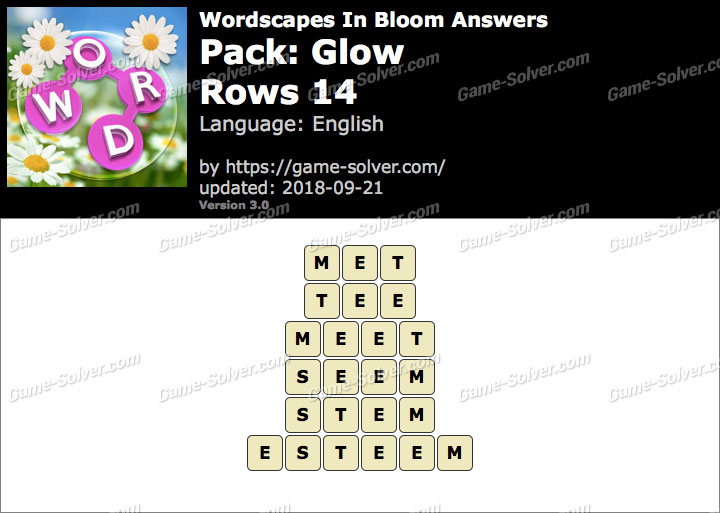 Wordscapes In Bloom Glow-Rows 14 Answers