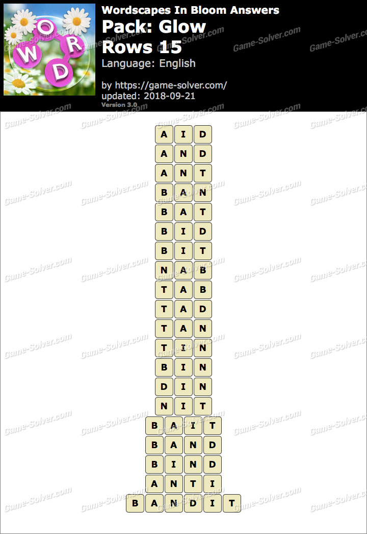 Wordscapes In Bloom Glow-Rows 15 Answers