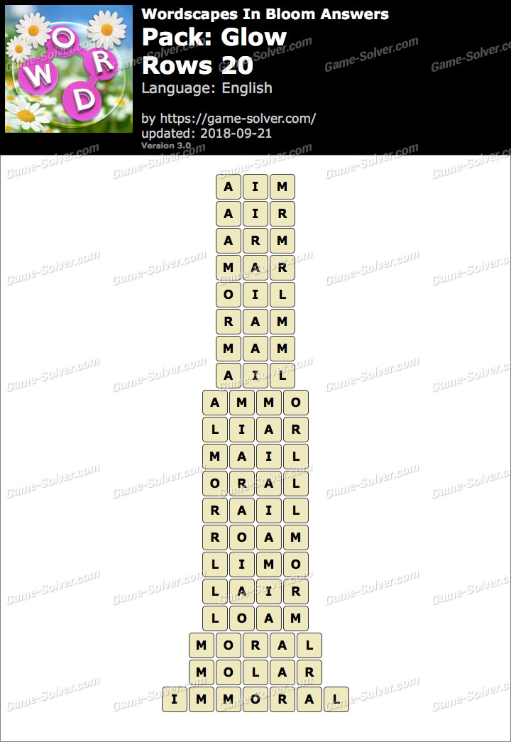 Wordscapes In Bloom Glow-Rows 20 Answers