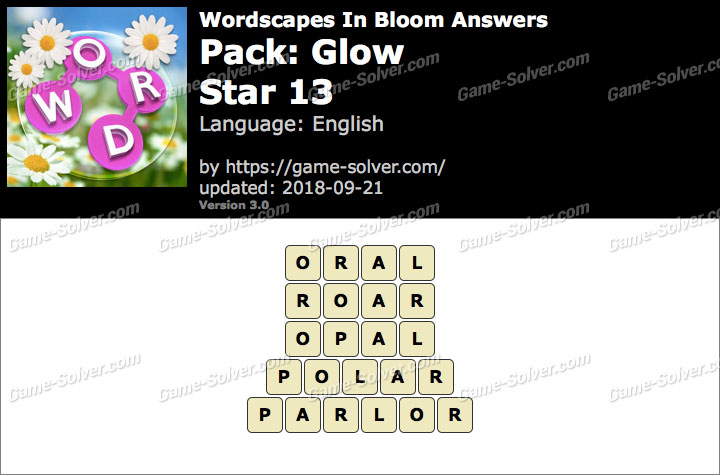 Wordscapes In Bloom Glow-Star 13 Answers