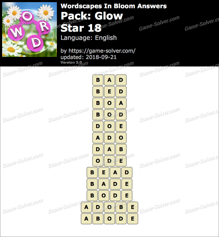 Wordscapes In Bloom Glow-Star 18 Answers
