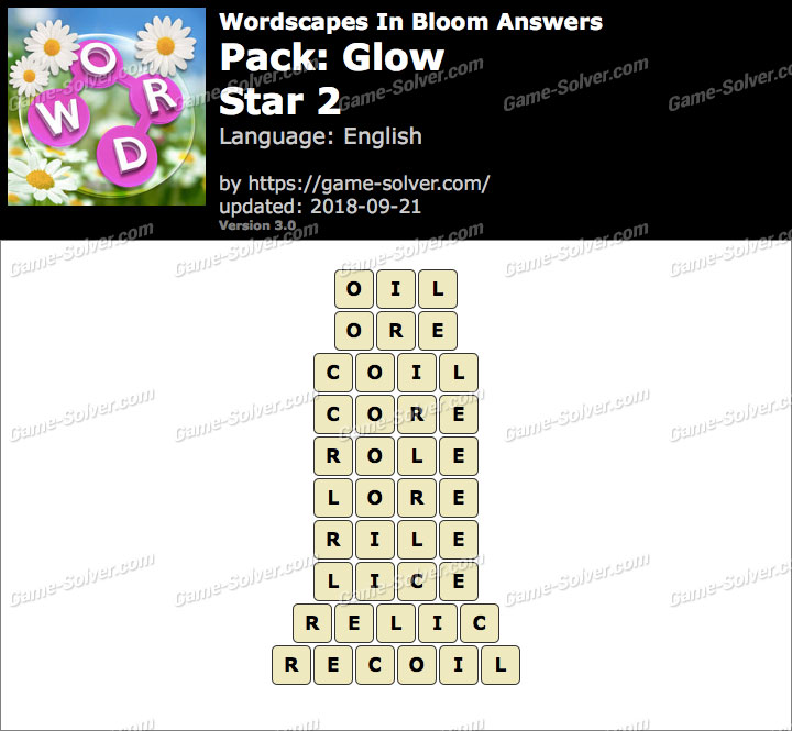 Wordscapes In Bloom Glow-Star 2 Answers