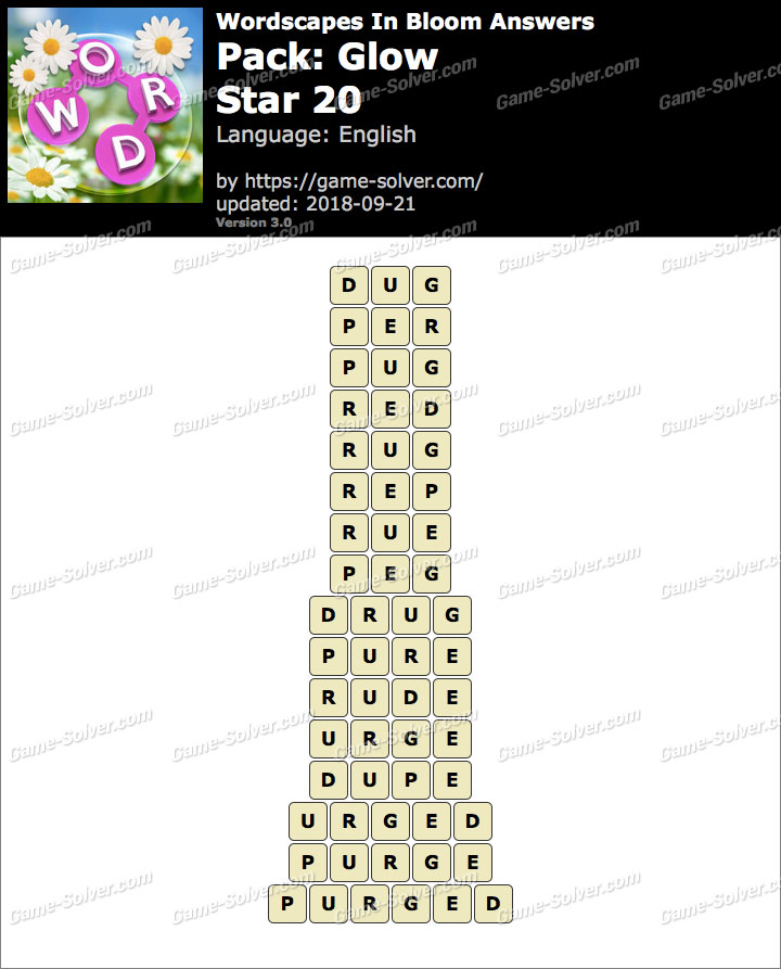 Wordscapes In Bloom Glow-Star 20 Answers