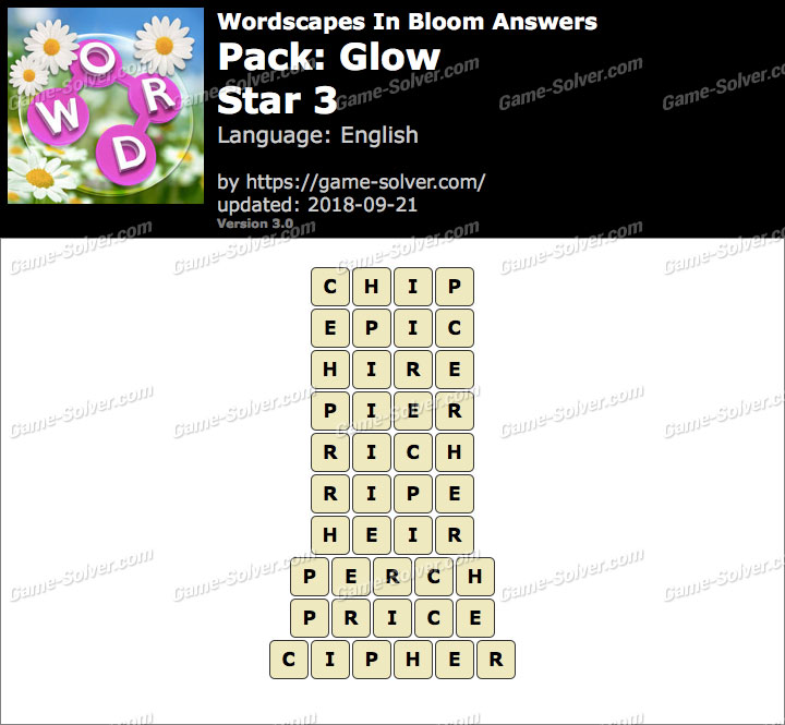 Wordscapes In Bloom Glow-Star 3 Answers