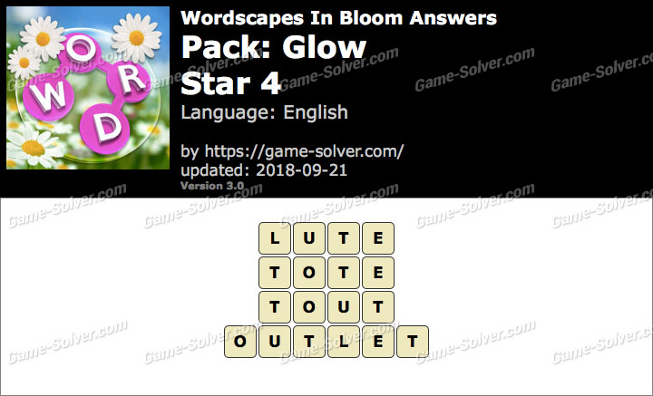 Wordscapes In Bloom Glow-Star 4 Answers