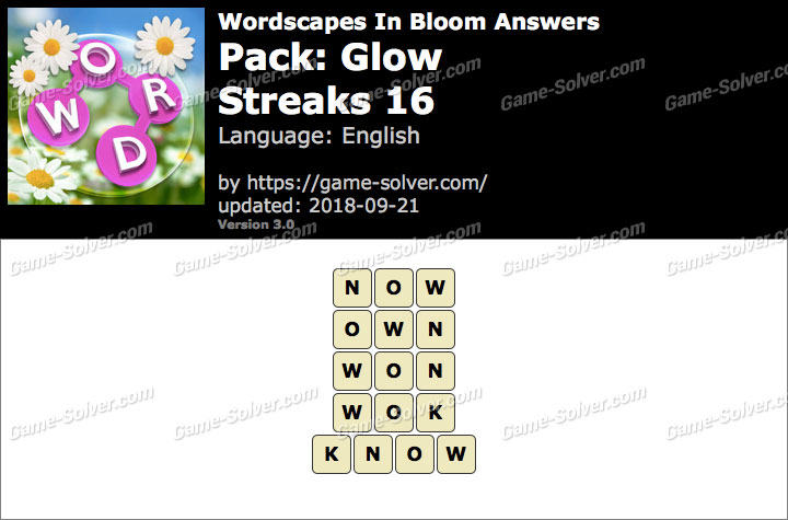 Wordscapes In Bloom Glow-Streaks 16 Answers