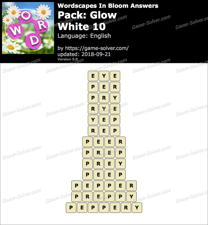 Wordscapes In Bloom Glow-White 10 Answers