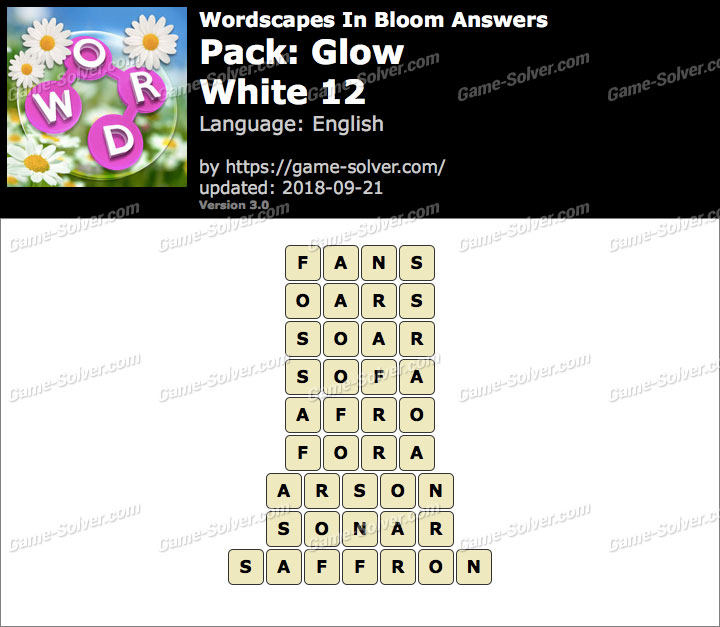 Wordscapes In Bloom Glow-White 12 Answers