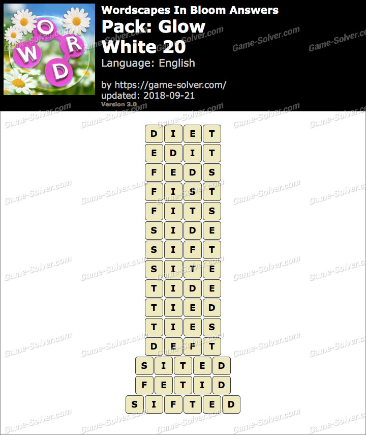 Wordscapes In Bloom Glow-White 20 Answers